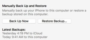 Back Up Now button in iTunes