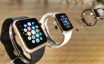 The Apple Watch home screen shown, while on display.