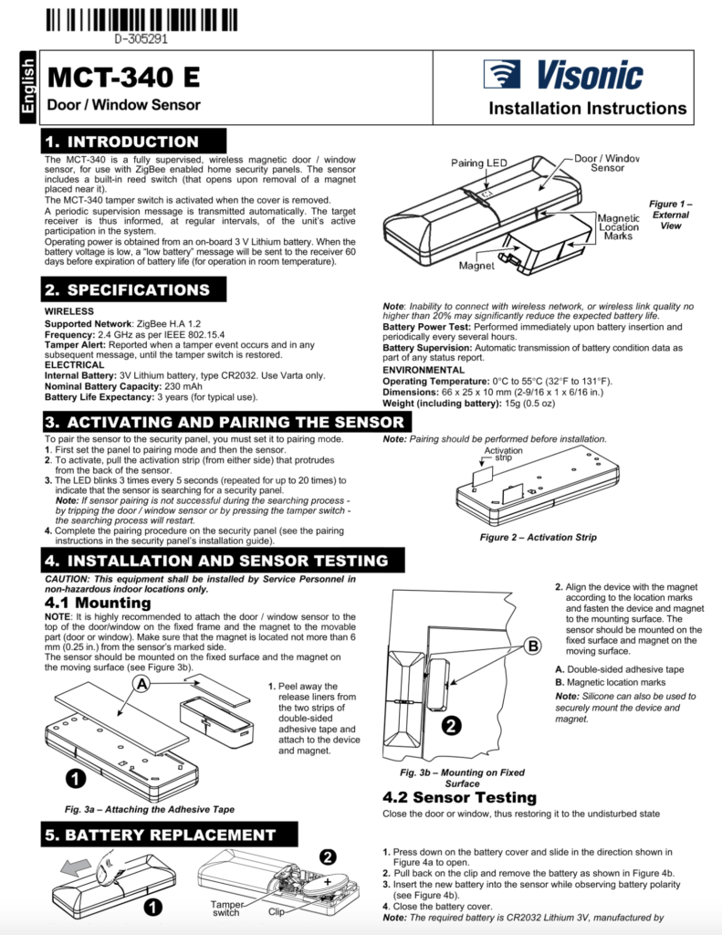 Visionic Contact Sensor Instruction Manual