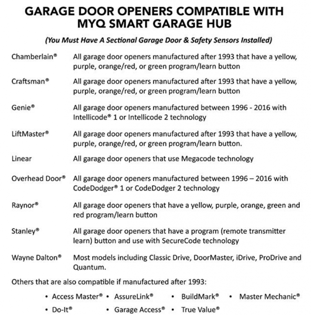 Compatible Garage Doors Chamberlin MyQ